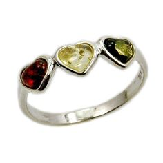'Trio of Love' Cute Little Hearts Sterling Silver Baltic Amber Ring