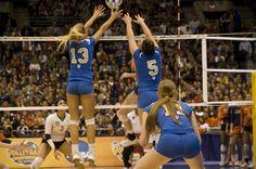 ucla+volleyball | UCLA's Zoe Nightingale (13) and Lauren Van Orden (5) block against ...