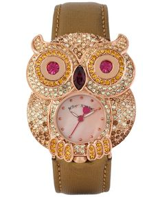 Betsey Johnson Women's Watch Owl Crystal Pave Rose Gold Brown Metallic Leather S | eBay