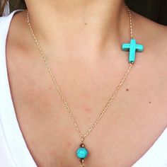 A personal favorite from my Etsy shop https://www.etsy.com/listing/237547180/turquoise-cross-gold-chain-necklace