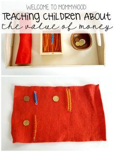 Teaching children about money with Montessori beads by Welcome to Mommyhood #montessori #money #montessoriactivities
