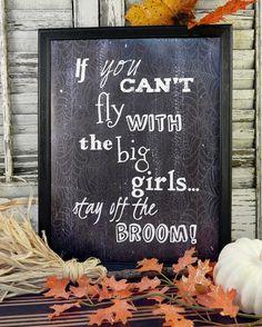 Halloween Fly Witch sign digital pdf   big von Hudsonsholidays