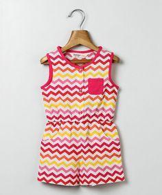Pink & Yellow Chevron Romper - Infant Toddler & Girls