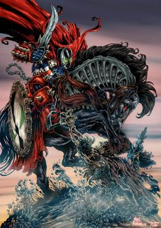There's no way in hell is HellSpawn giving up his horse Image Comics, Dc Comics, Spawn Comics, Black Comics, Comic Book Artists, Comic Artist, Comic Books Art, Spawn 1, Image Hero