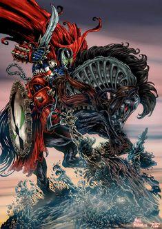 There's no way in hell is HellSpawn giving up his horse Image Comics, Marvel Art, Comics Artwork, Superhero Comic, Black Comics, Spawn Comics, Art, Predator Alien Art, Spawn