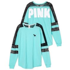 Victoria's Secret PINK Graphic Mesh Varsity Crew Neck Sweatshirt Aqua... (€58) ❤ liked on Polyvore featuring tops, hoodies, sweatshirts, shirts, outerwear, pink, crew shirt, victoria secret sweatshirt, pink shirts and crewneck shirt