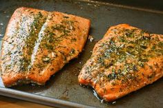 Recipe for Wild Salmon Roasted in Olive Oil and Herbs; amazingly easy, quick, and delicious way to cook salmon! [from Kalyn's Kitchen] #LowGlycemicRecipe