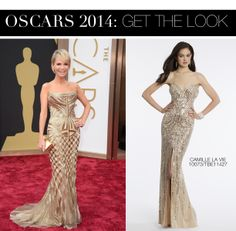 Kristin Chenoweth Oscar 2014 Dress vs Camille La Vie Strapless Swirl Beaded Sweetheard Prom Dress