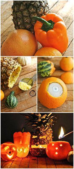 HOW TO: Make Fruit/Veggie Jack-o-Lanterns #howto #diy