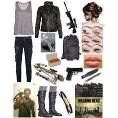 """The Walking Dead- Inspired Outfit"" by jenlizmatt on Polyvore - I have no idea why they included makeup in the set, but I like the outfit."
