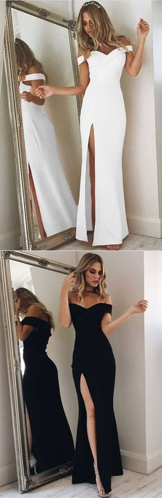 Off-Shoulder Maxi Gown with High Side Slit
