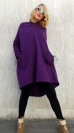 Purple Loose Sweatshirt Dress / Plus Size Cotton Fleece by Teyxo