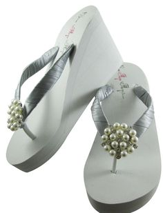 9b59b4979c3481 Ships in 2 Days rush pearl wedge ivory wedding by BridalFlipFlops Bridesmaid  Flip Flops