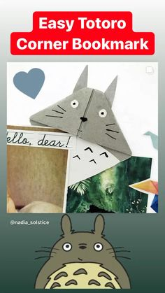 Red Ted Art's easy Totoro Corner Bookmark! Bookmarks Diy Kids, Paper Bookmarks, Bookmark Craft, Origami Bookmark, Corner Bookmarks, Easy Paper Crafts, Easy Crafts For Kids, Craft Activities For Kids, Diwali Card Making