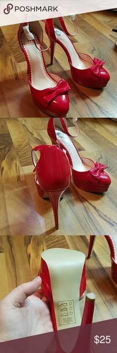Brand new red heels These have never been worn and even have some of the wrapping on them. I bought these from shoe dazzle but never wore them. They have never touched pavement. Shoe Dazzle Shoes Heels