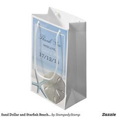 Sand Dollar and Starfish Beach Wedding Small Gift Bag