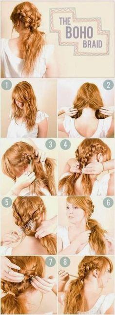 Pretty Boho Braid #howto #stepbystep #pictorial #tutorial #hair #bohobraid #braid - bellashoot.com