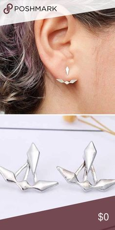 JUST IN!  Geometric Spike Earring Jackets Coming Soon!  Geometric Spike Earring Jackets In Silver Tone.  Made from Zinc alloy Metal.  Fun, funky, and playful!  (Pictures Courtesy of Wila!)  Price is firm unless bundled. WILA Jewelry Earrings