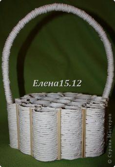 Cesta para flores feito com tubos de papel-pap
