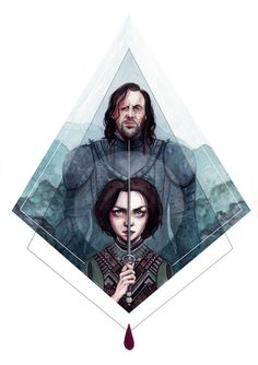 print of an original illustration, based on Game of Thrones characters Arya Stark and Sandor The Hound Clegane. sized 11 by 17 inches. (28 by 43 cm).