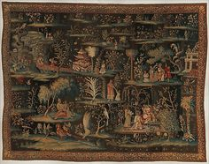 "Attributed to the workshop of John Vanderbank the Elder (Flemish, 1683–1717). The Toilet of the Princess (from a pair of Indo-Chinese scenes), 1690–1715. The Metropolitan Museum of Art, New York. Gift of Mrs. George F. Baker, 1953 (53.165.2) | In the 1690s the London weaver John Vanderbank supplied nine tapestries in the ""Indian Manner"" to Kensington Palace, perhaps to complement the vast Asian porcelain collection of Queen Mary II. #tapestrytuesday"