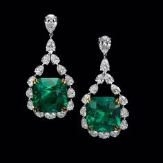 Dehres. Feast your eyes on our rare  and transparent 17 carats each Cushion Shape Columbian Emerald earrings surrounded by over 11 carats diamonds