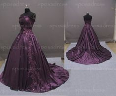 purple wedding dress strapless wedding dress custom by sposadress, $289.00