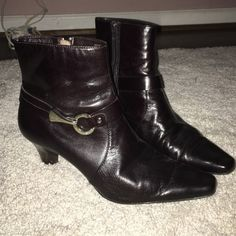 Anne Klein leather booties  Iflex, very comfortable. Barely Worn, in good condition. 2.5 inch heel. Dark brown leather. Making room in my closets. Smoke and pet free home. Anne Klein Shoes Ankle Boots & Booties