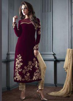 Maroon Velvet Salwar Kameez Suit