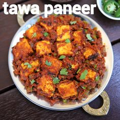 tawa paneer recipe, paneer tawa masala, paneer tawa fry with step by step photo/video. interesting paneer dry curry made on tawa with pav bhaji masala. Indian Veg Recipes, Indian Dessert Recipes, Indian Food Vegetarian, Ovo Vegetarian, Paratha Recipes, Paneer Recipes, Pakora Recipes, Chaat Recipe, Masala Recipe