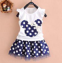 Mini vestido 0-4y Niños Niñas Princesa Ropa partido de la historieta de Minnie Mouse Bebé (China (continental))