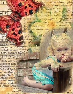"† digital photo collage - I really like this artists' work - ""My digital collages will be created from your photos and images of vintage postcards, greeting cards, magazines, letters and any object that looks interesting. I work them in layers to create the digital collage."" by shynecessities on Etsy"