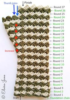 Guidance for Crochet Fingerless Gloves (4ply) © Elvira Jane 2015  FREE PATTERN: https://elvirajane.wordpress.com/2015/01/28/crochet-fingerless-gloves-4ply-by-elvira-jane-free-pattern/