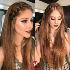 Aprenda a fazer penteados lindos! Clique na imagem! Aprenda a fazer penteados lindos! Clique na imagem! Romantic Hairstyles, Wedding Hairstyles, Beautiful Hairstyles, Headband Hairstyles, Braided Hairstyles, Straight Prom Hair, Straight Hairstyles For Long Hair, Hair Colour Design, Brown Blonde Hair