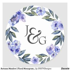 Autumn Meadow | Floral Monogram Wedding Classic Round Sticker Wedding Favors, Wedding Invitations, Create Your Own, Create Yourself, Wedding Stickers, Monogram Wedding, Free Paper, Round Stickers, Different Shapes