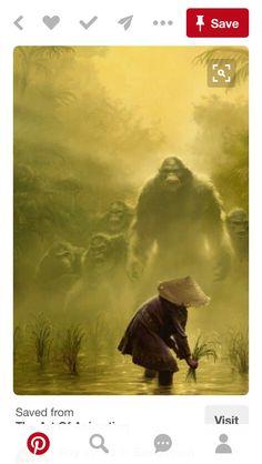 Giants on Earth - Owen Richardson - Workbook Illustration Portfolio Mythological Creatures, Fantasy Creatures, Mythical Creatures, Yeti Bigfoot, Bigfoot Sasquatch, Bigfoot Photos, Bigfoot Sightings, Monkey Art, Mothman
