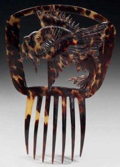 ART NOUVEAU - LALIQUE - Dragonfish Comb <3