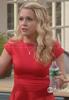 Melissa's red capped sleeve skater dress on Melissa and Joey.  Outfit Details: http://wornontv.net/28028/ #MelissaandJoey