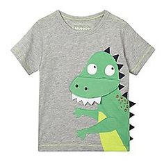 bluezoo - Boys' grey applique dinosaur t-shirt