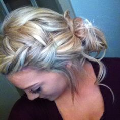 Classy up-do with fishtail braided bangs.