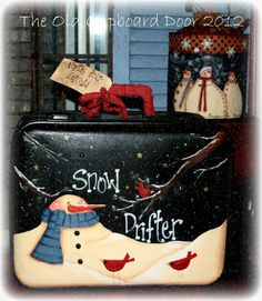 Hand painted suitcase by The Old Cupboard Door.  Design by Renee Mullins.