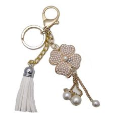 1 Pc Handmade Gold Bling and Pearl Clover Keychain with lobster clasp  Gorgeous Christmas Gift, Birthday Gift for her and Friends