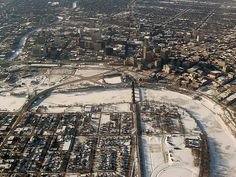 Downtown Winnipeg, with the rivers frozen solid.