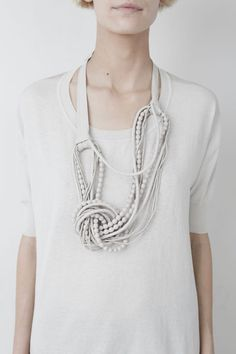 natalie brilli leather pearl necklace cool to try something like this