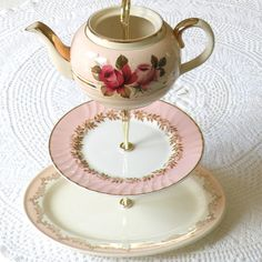 beautiful 3 tiered china serving stand #diy #tutorial #party
