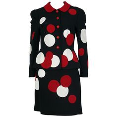 Moschino Vintage Black Polka Dot Skirt Suit | From a collection of rare vintage…