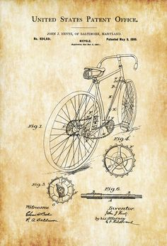 Patent print poster of a bicycle invented by John J. Hentz. The patent was issued by the United States Patent Office on may 9, 1899. Patent prints allow you to have a piece of history in your Home, Office, Man Cave, Geek Den or anywhere you wish to add an interesting touch. COLORS AND SIZES Prints ... | Cars, Trains, Bikes, Sea