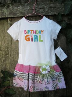 Happy Birthday To You Ruffl'd T GIrls Dress Size 24 Month. $27.00, via Etsy.