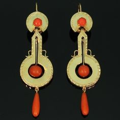 Early Victorian long pendent gold earrings with coral