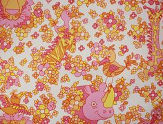 1970's Vintage Wallpaper Vinyl Retro Childrens by RosiesWallpaper